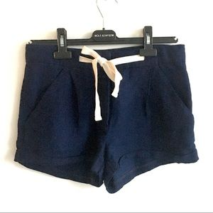 ARITZIA Wilfred Linen Shorts Navy Blue 2